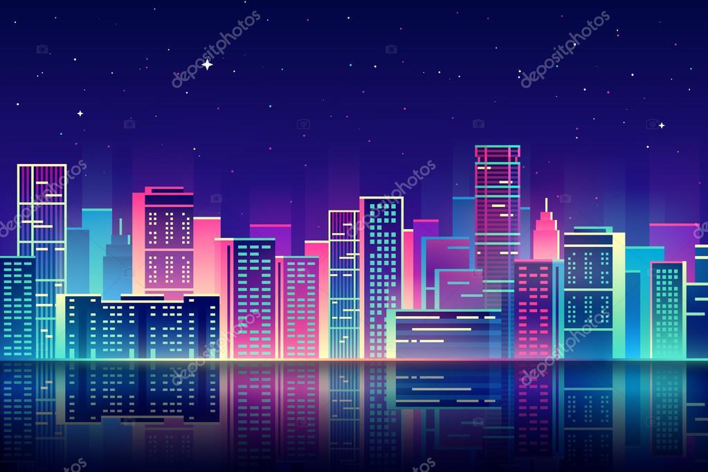 夜の街のネオンの輝きイラスト ストックベクター Garybaldi 104506630