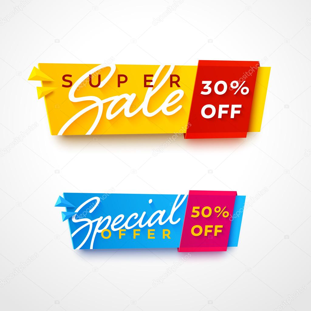 bright plastic banner for online store.