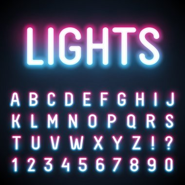 Glowing neon tube font.