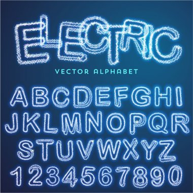 blue electric alphabet
