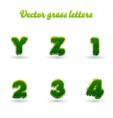 grass letters and numbers