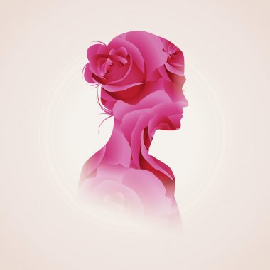 Woman silhouette plus abstract flowers
