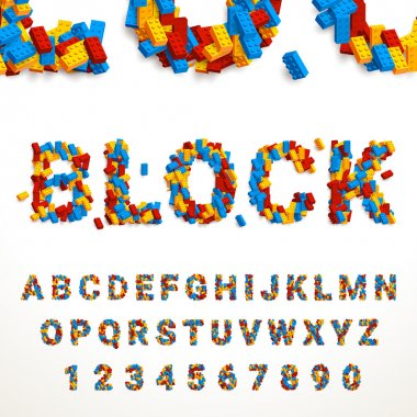 typeface made of colorful blocks