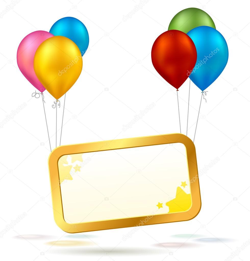 Signo de celebración con globos coloridos — Archivo Imágenes Vectoriales 752c1ad87ca