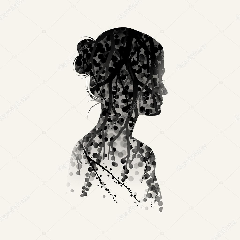 Woman Silhouette Plus Nature Background