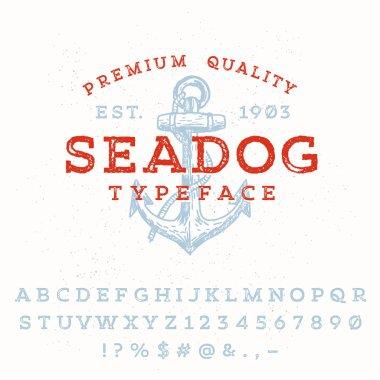 Vintage styled grunge textured typeface