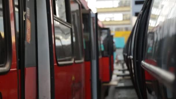 People boarding a public bus in Curitiba