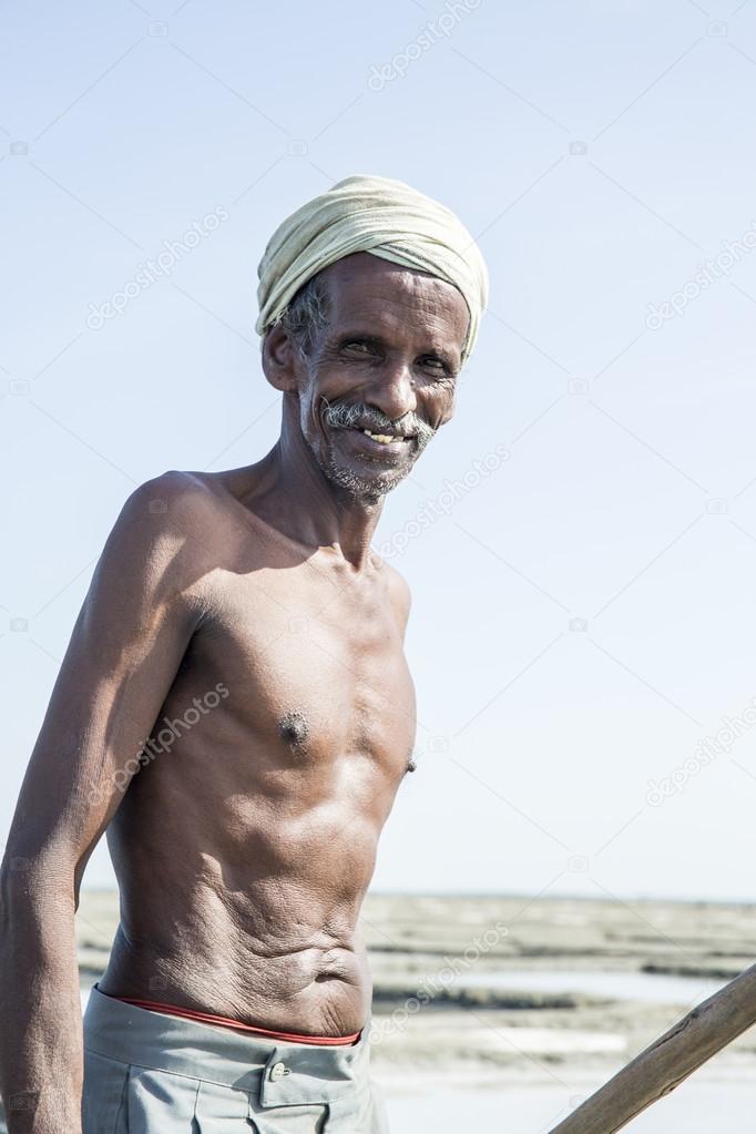 Documentary image editorial. Salt field worker India