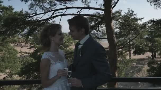 Het paar in de schaduw van de bomen op het terras kussen met