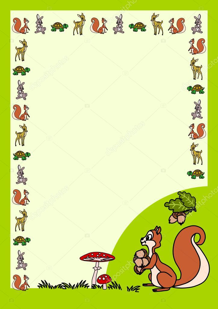 Brief Formular Mit Cartoon Eichhörnchen Stockvektor Tmmse 88083872