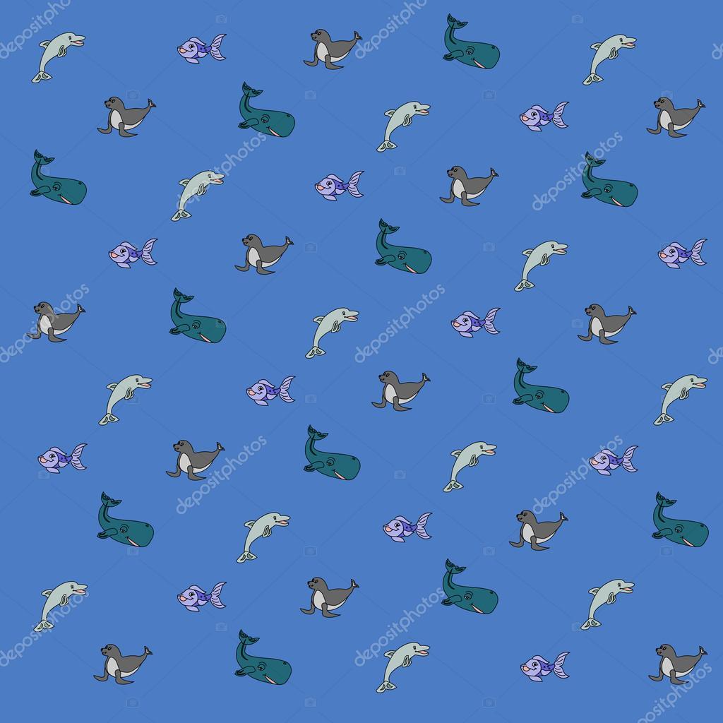 Ilustración De Dibujo Fondo De Los Animales Al Mar Y Más