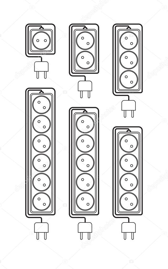 Sammlung elektrischer Verlängerungskabel in einem modernen linearen ...