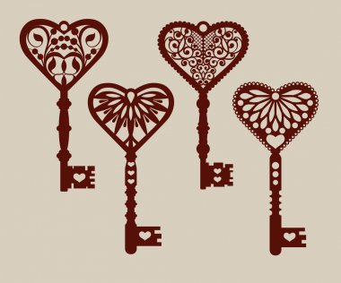 Collection of templates of decorative keys for laser cutting, paper cutting, stencil making. The image is suitable for interior design, props, wedding, Valentine's day, individual creativity stock vector