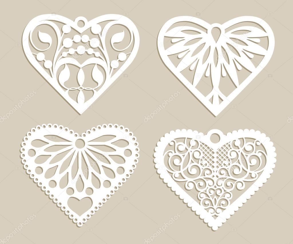 Plantilla corazones encaje con patrón de calados — Archivo Imágenes ...
