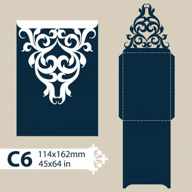 Template congratulatory envelope with openwork carved pattern