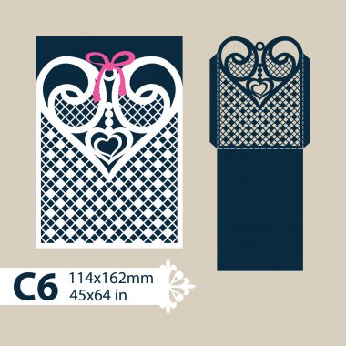 Template envelope with carved openwork heart