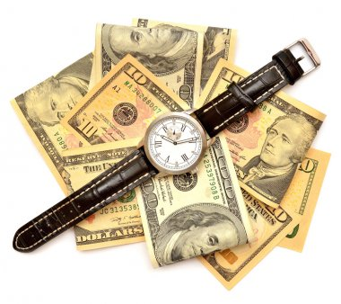 Banknotes of dollars and watch