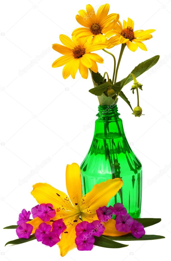Flowers in bottle with water