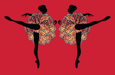 Silhouette of a Two Ballerinas in Motley Ballet-Skirt