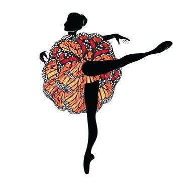Silhouette of Ballerina in Motley Ballet-Skirt