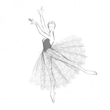 Hand Drawing of a Ballerina in Lacy Dress