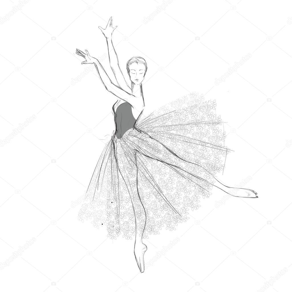 El çizimi Bir Balerin Dantelli Elbise Stok Vektör Mountelbrus