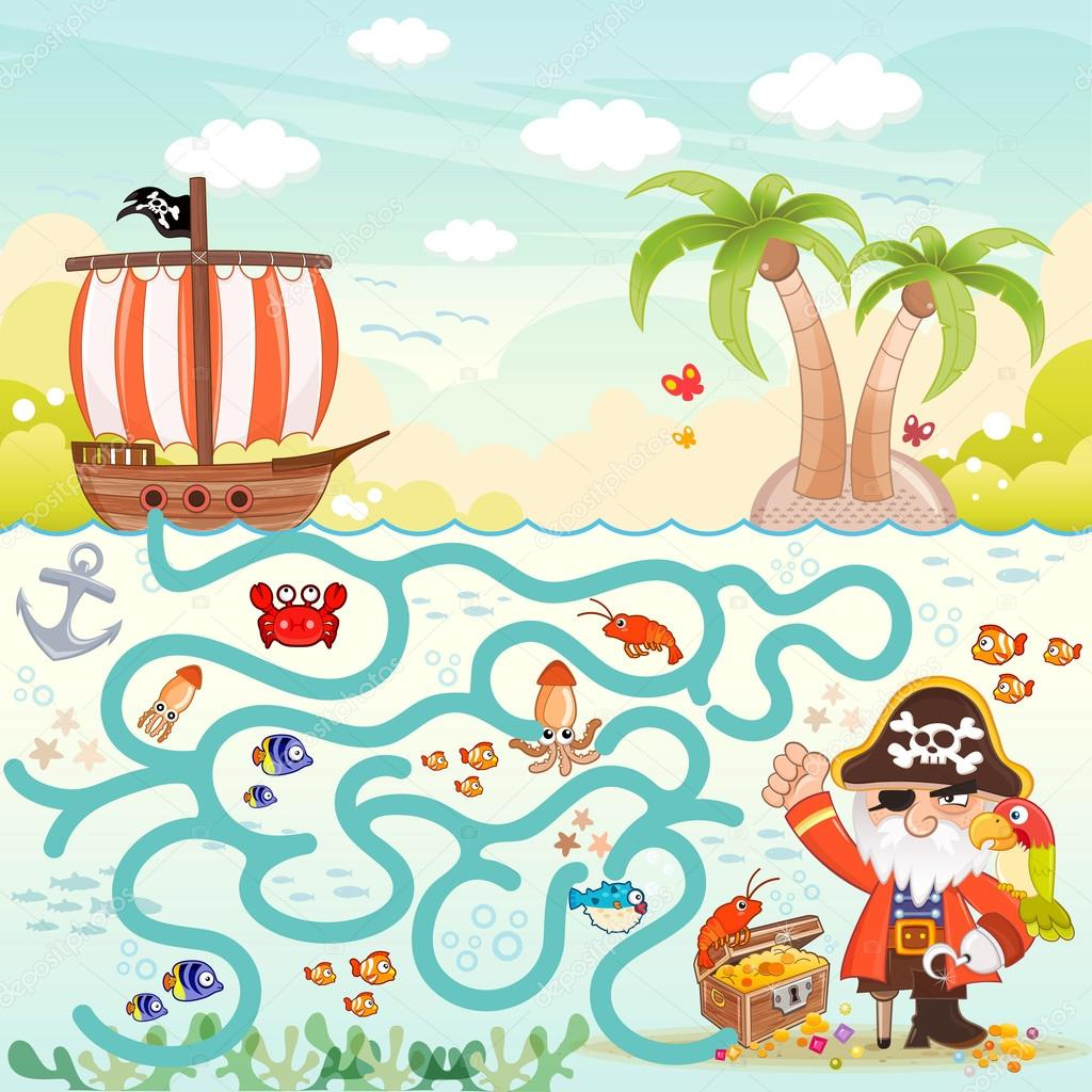 Pirates and treasure box maze game for children