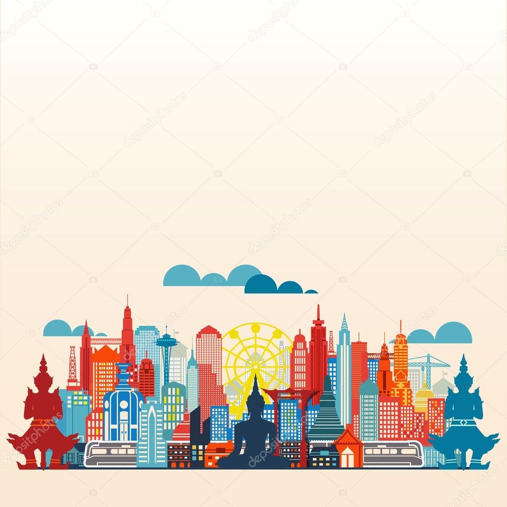 Panorama Bangkok Metropolis and building flat design