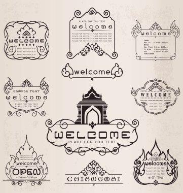 Thai art pattern vintage design elements and frames