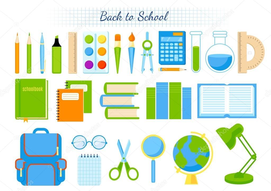 Fondo Utiles Escolares Vector: Imágenes: Utiles Escolares Individuales Animados