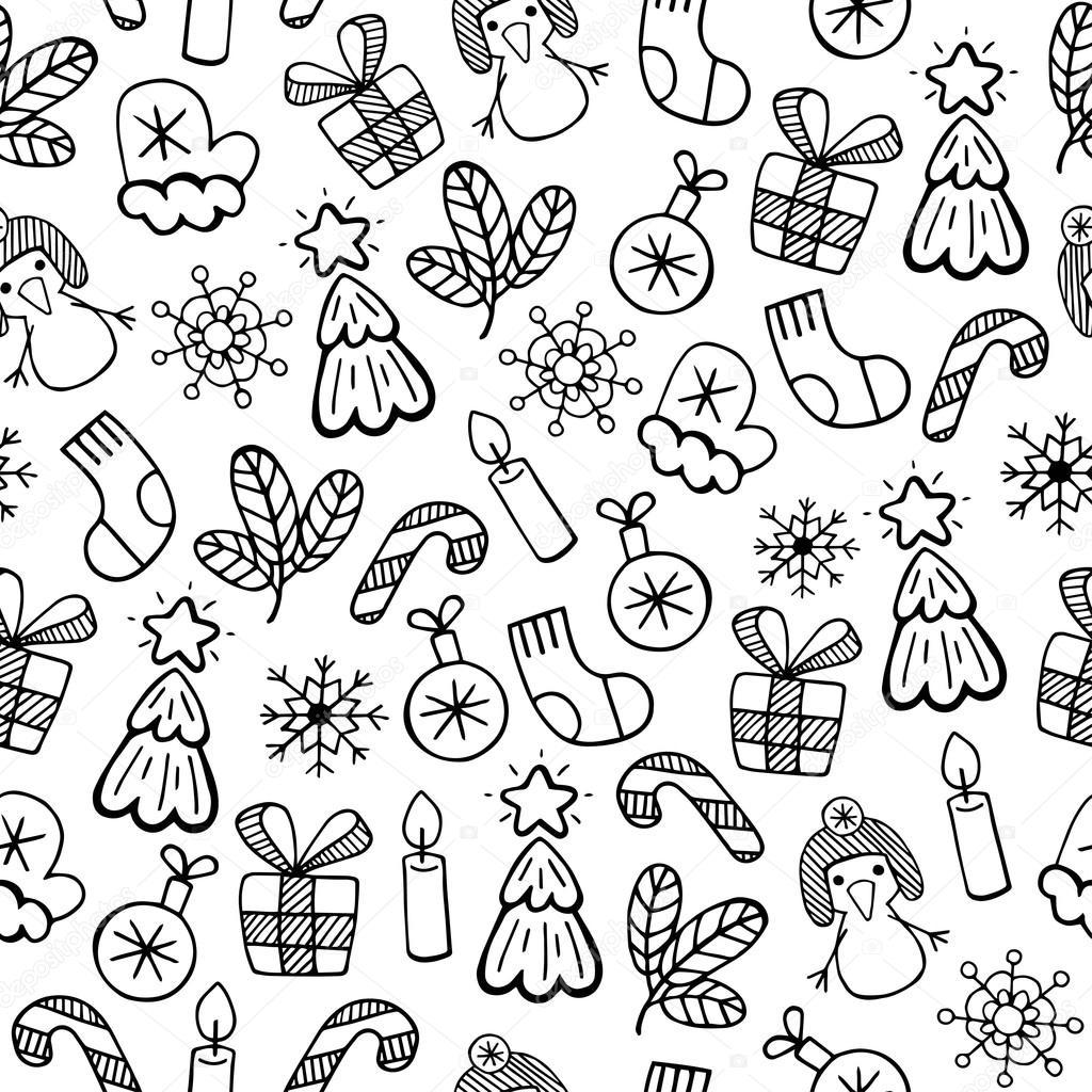 Conjunto De Desenhos De Natal Preto E Branco Vetor Premium