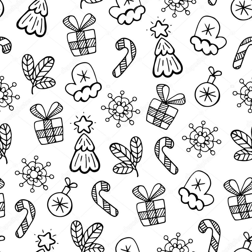 Schwarze und weiße Weihnachten Skizze, Vektor nahtlose Muster ...