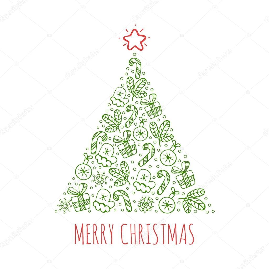 Sapin de Noël dessin icônes vector illustration — Image vectorielle ...