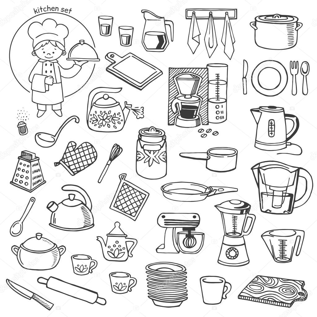 Kitchen utensils and appliances vector icons set — Stock Vector ...