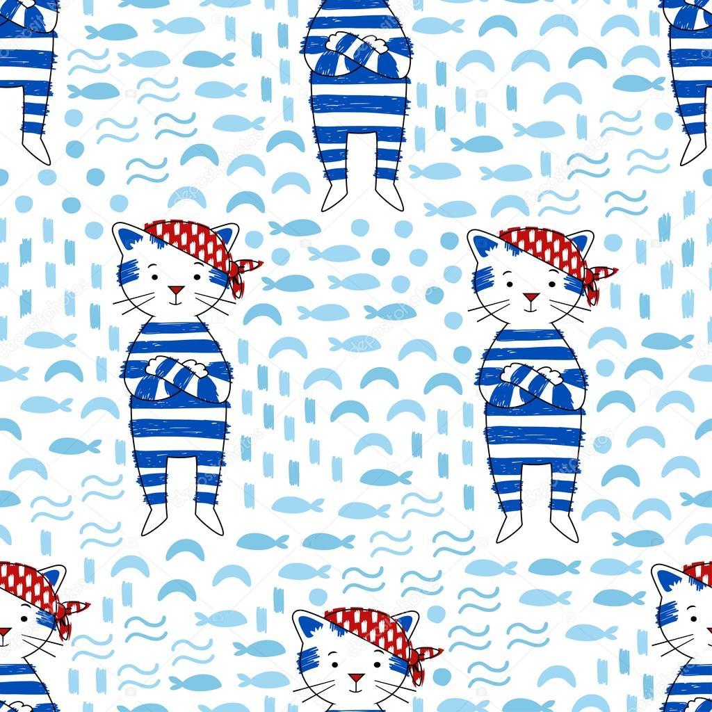Pirate Cat vector seamless pattern