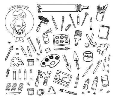 Art tools sketch hand drawn set vector desing