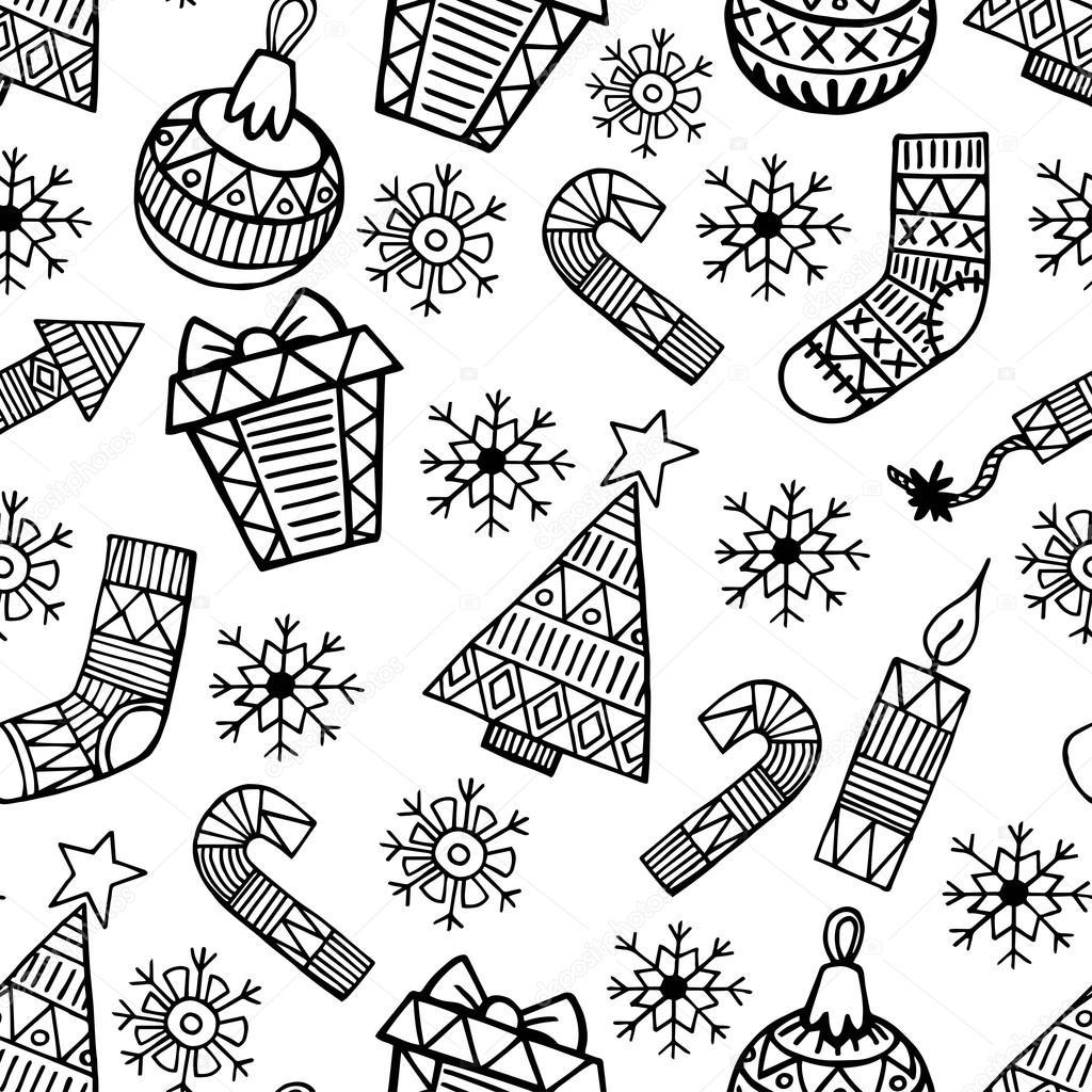 Weihnachten Schwarz Weiß Bilder.Weihnachten Schwarz Weiß Vektor Nahtlose Muster Stockvektor