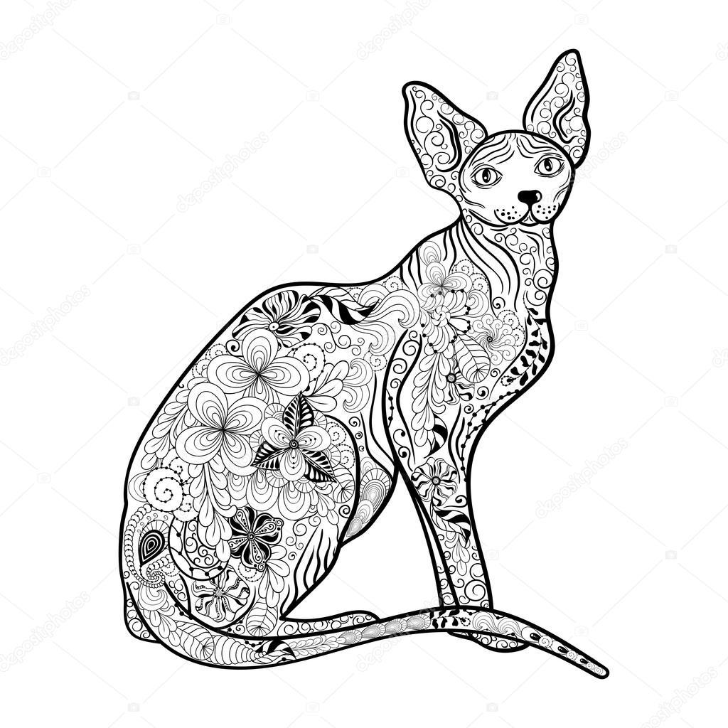 Doodle de gato Sphynx — Archivo Imágenes Vectoriales ...