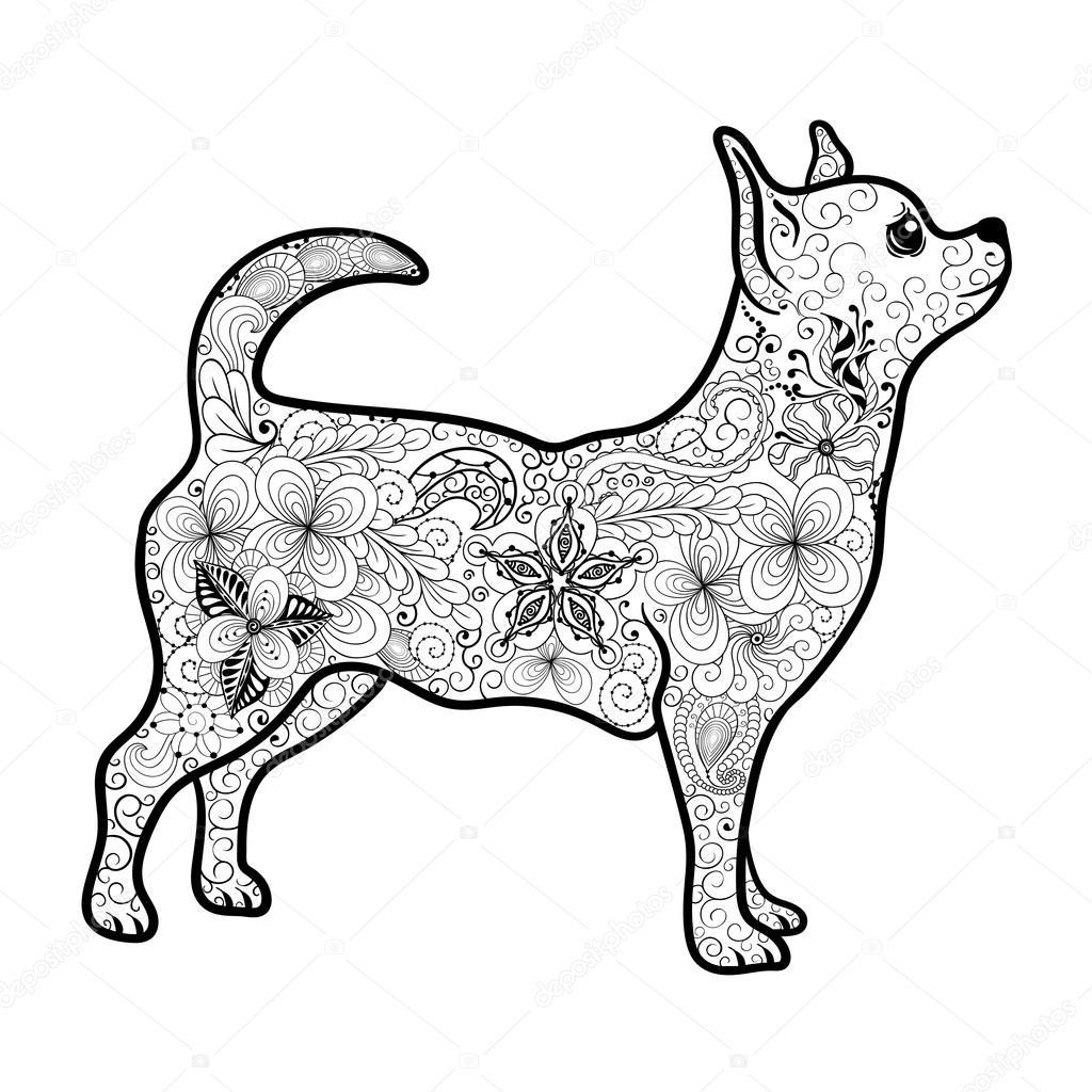 Chihuahua Doodle ilustración — Archivo Imágenes Vectoriales ...