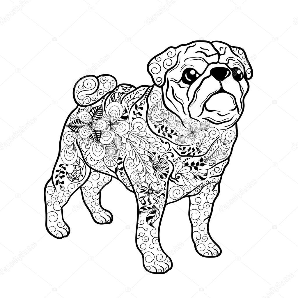 Doodle de Perro Pug — Vector de stock © Vasylieva_Yuliya #106158850