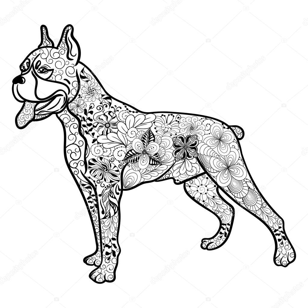 Line Drawing Of A Boxer Dog : Boxer hund doodle — stock vektor vasylieva yuliya