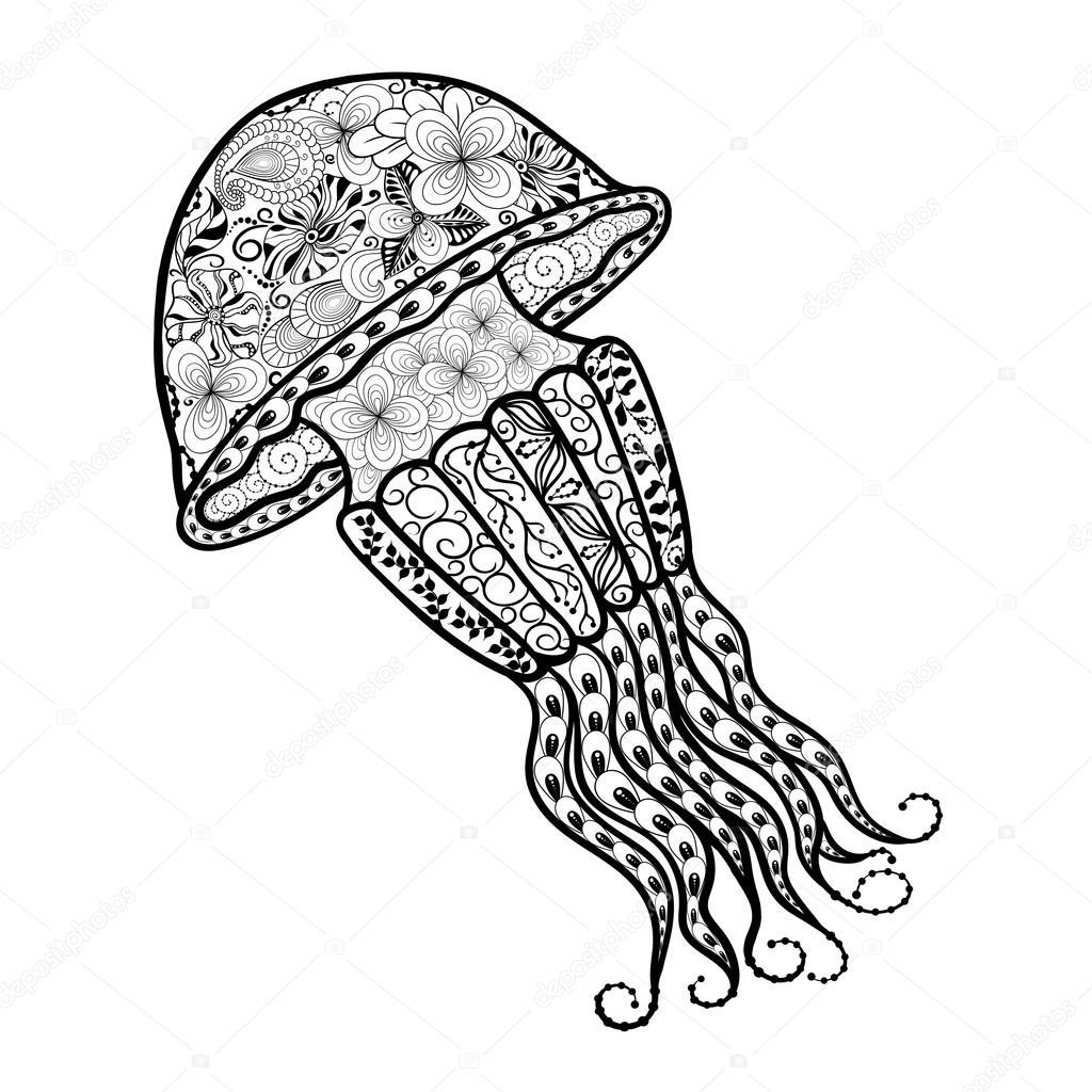 Denizanası Illüstrasyon Doodle Stok Vektör Vasylievayuliya