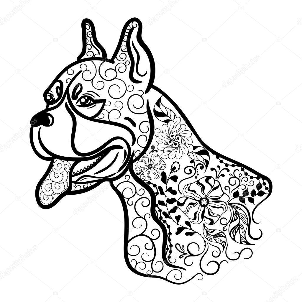 Doodle Cabeza De Perro Boxer Vector De Stock