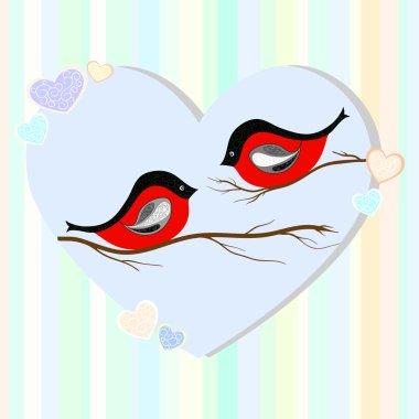 Bullfinches vector illustration
