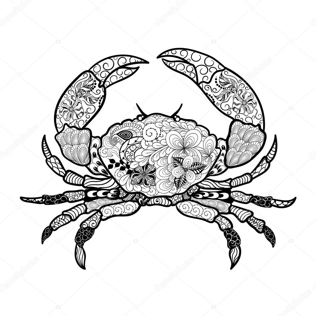 Ilustración de Doodle de cangrejo — Archivo Imágenes Vectoriales ...