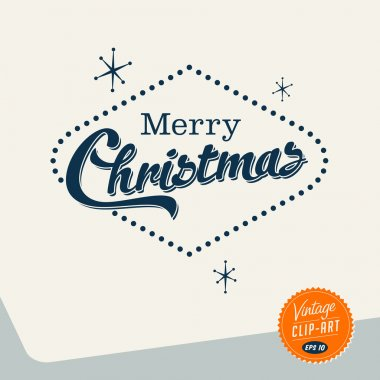 Vintage Style Clip Art - Merry Christmas - Vector EPS10