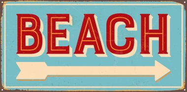 Vintage metal sign - Beach