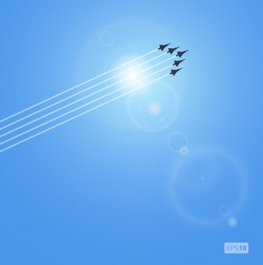 Realistic sun, jets and airplanes