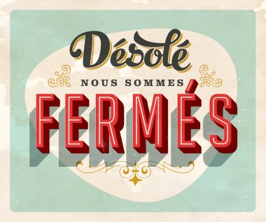 Vintage french paper sign