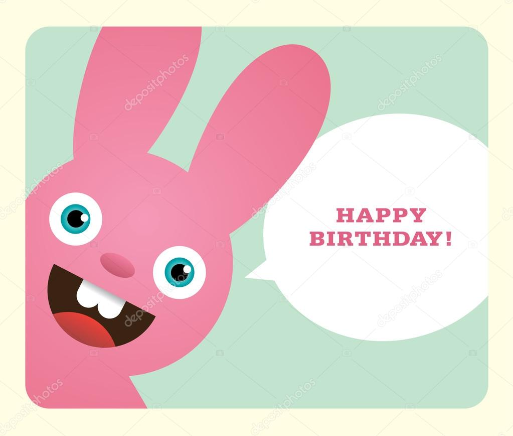 Funny Birthday Card With Bunny Vector By
